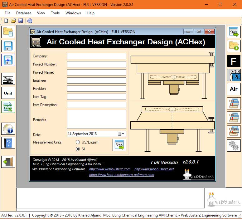 Thermal design and sizing calculations of Air cooled heat exchangers. The software will design horizontal induced draft or forced draft units for liquid and gas services and will produce a three page summary of all results and drawing