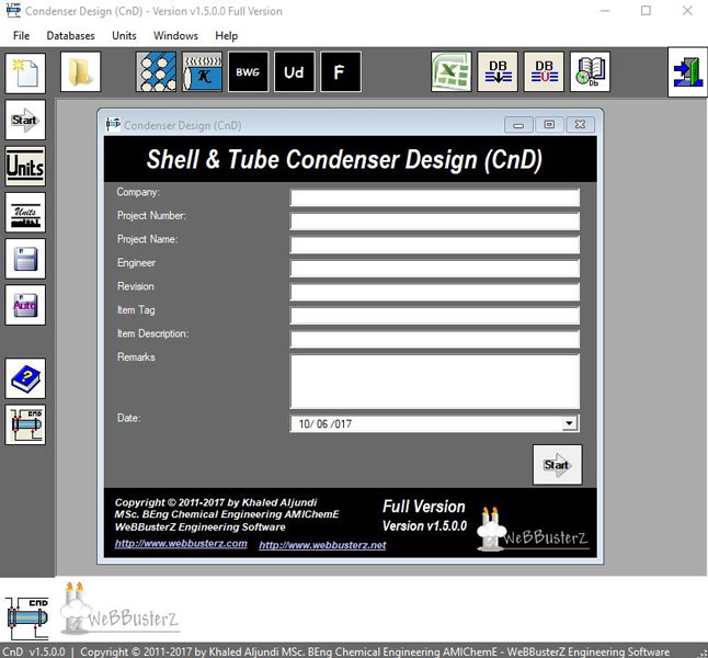 Condenser Design Screen shot