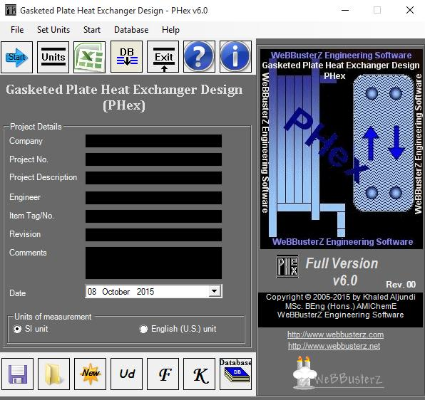 Gasketed Plate Heat Exchanger Design Screen shot