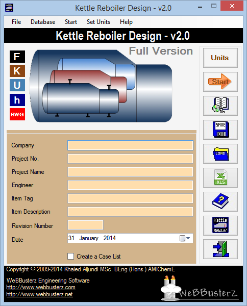 Kettle Reboiler Design Screen shot