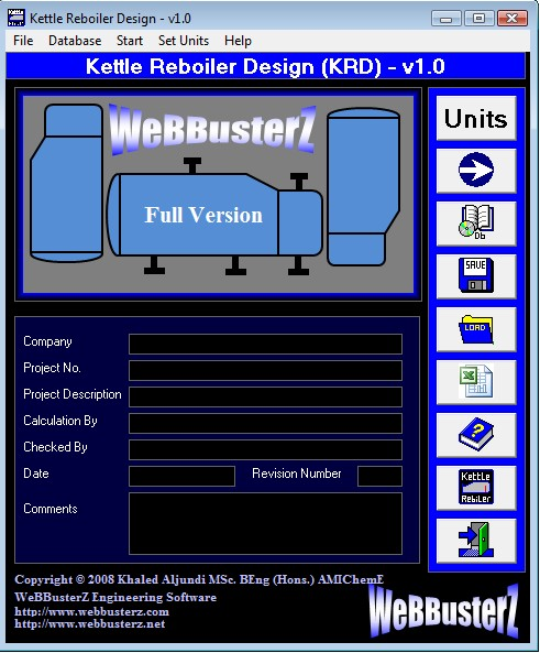 Click to view Kettle Reboiler Design (KRD) 1.0 screenshot