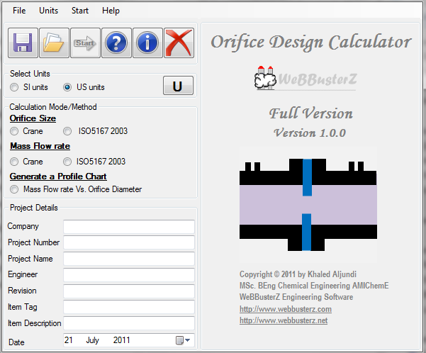 Orifice Design Calculator Screen shot