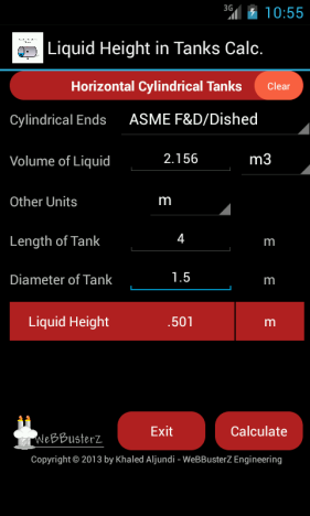 Liquid Height in Tanks Calculator Main Screen