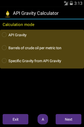 API Gravity Calculator Main Screen