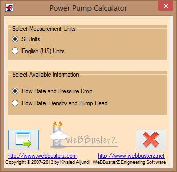 Pump Power Calculator Main Screen