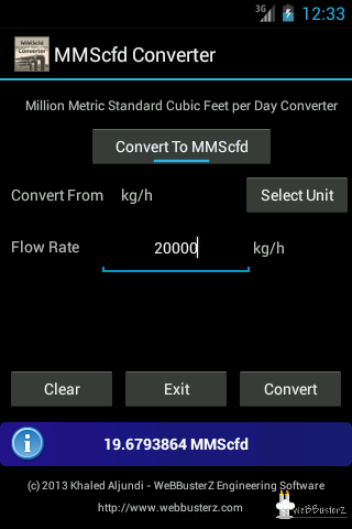 MMScfd Converter Main Screen