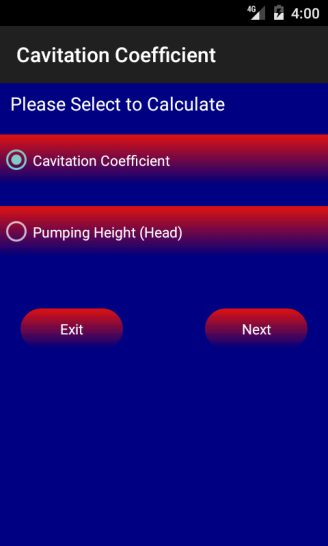 Cavitation Coefficient Main Screen