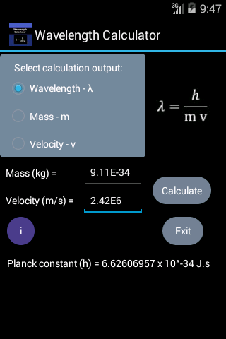 Wavelength Calculator Main Screen