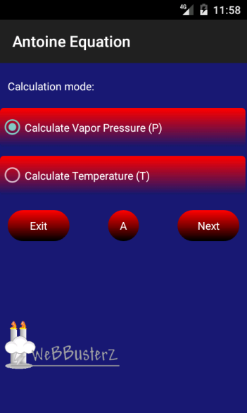 Vapor Pressure Main Screen