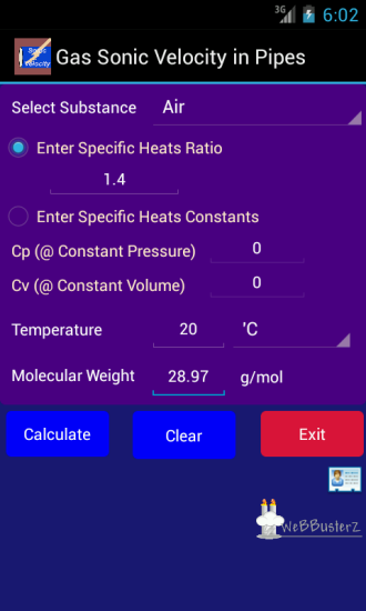 Gas Sonic Velocity calculator Main Screen