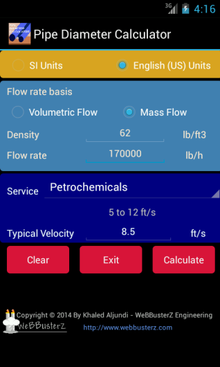 Pipe Diameter Calculator Main Screen